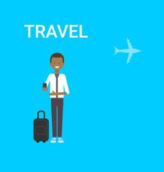 Man traveller with bag holding smart phone gadget vector