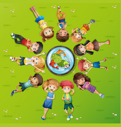 Many kids on green grass vector