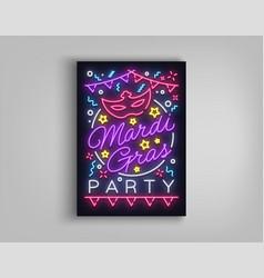 mardi gras invitation template design neon-style vector image