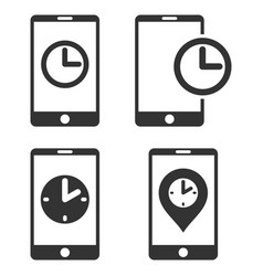 Mobile clock flat icon set vector