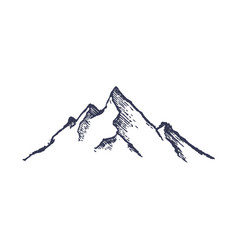 mountains hand drawn rocky peaks mounstain vector image