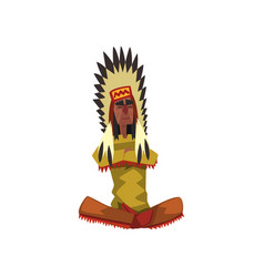 native american indian chief in traditional vector image