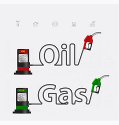 oil and gas typographic gasoline pump nozzle vector image