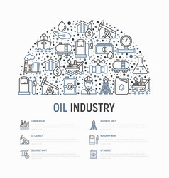 Oil industry concept in half circle vector