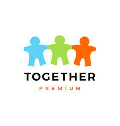 people family together human paper kids logo icon vector image