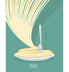 Plate of pasta A dish of Spaghetti vector