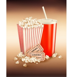 popcorn box and cola and tickets vector image