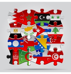 Puzzle flags vector