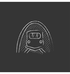 Railway tunnel drawn in chalk icon vector