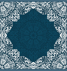retro white boho floral frame vector image