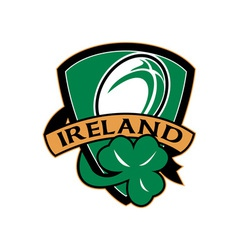 rugby ball ireland shield shamrock vector image