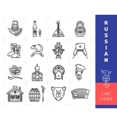 Russian culture black thin line icons Russia vector