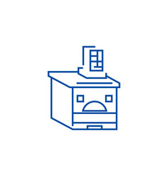 Russian oven line icon concept russian oven flat vector