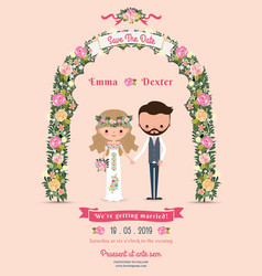 Rustic blossom flowers cartoon couple wedding vector