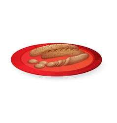 Sausage in plate vector