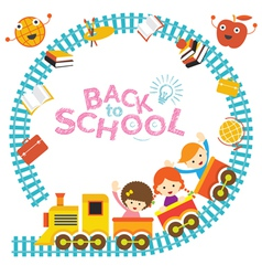 School Train Kids Frame vector image