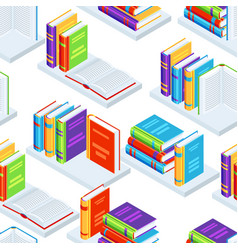 seamless pattern with isometric books vector image