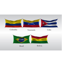 Set flags americas waving flag colombia vector