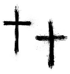 Set of Abstract Grunge Crosses vector image