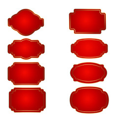 set of red badge shape trophy and reward vector image