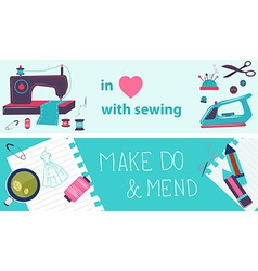 Sewing flat design two banners vector
