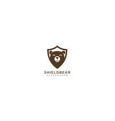 shield bear logo design template vector image