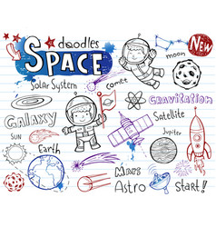Space doodles collection vector