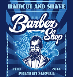 Stylish poster for advertising barbershop vector