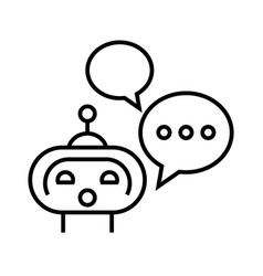 talking robot line icon concept sign outline vector image