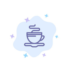 tea cup coffee hotel blue icon on abstract cloud vector image