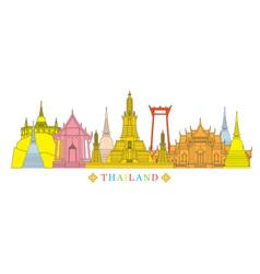 Thailand architecture landmarks skyline vector