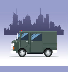 Truck delivery town cargo vector
