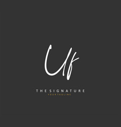 Uf initial letter handwriting and signature logo vector