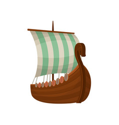 Viking scandinavian draccar with sails norman vector