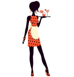 waitress holding cocktails vector image vector image