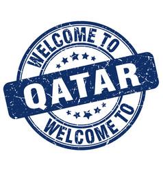 Welcome to qatar blue round vintage stamp vector