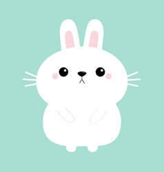 white bunny rabbit hare icon funny head face cute vector image