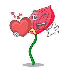 With heart anthurium flower pink in cartoon garden vector