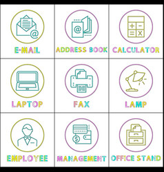 worktime and office management rounded line glyph vector image