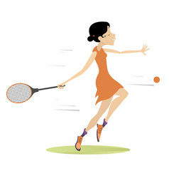 Young woman playing tennis isolated vector