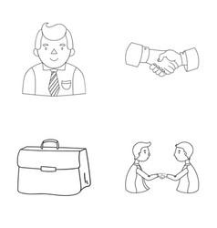 Businessman handshake portfolio agreement vector