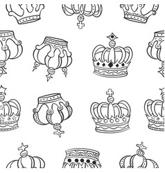 crown hand draw pattern style vector image