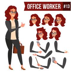office worker woman happy clerk servant vector image vector image