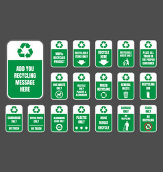 recycle signs set vector image vector image