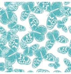 Seamless pattern with vintage blue butterfly vector image vector image