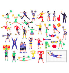 soccer fan characters set vector image vector image