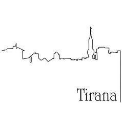 tirana city one line drawing background vector image vector image