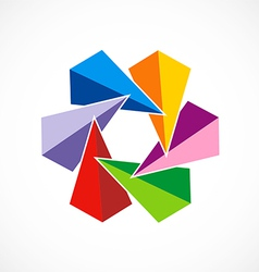 triangle colorful circle abstract logo vector image vector image