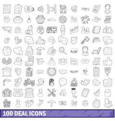 100 deal icons set outline style vector