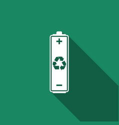 battery with recycling symbol with long shadow vector image vector image